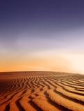 заход солнца ландшафта пустыни Стоковая Фотография