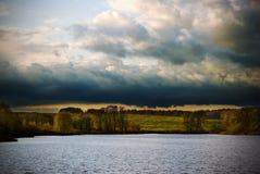 заход солнца ландшафта сельской местности Стоковое Изображение RF
