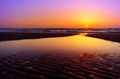 заход солнца ландшафта Стоковое фото RF