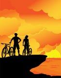 заход солнца ландшафта Стоковые Изображения RF