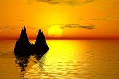 заход солнца ландшафта 3d Стоковые Изображения