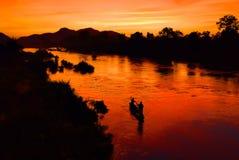 заход солнца Лаоса Стоковое фото RF