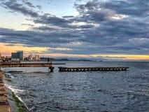 Заход солнца лета морем стоковое фото rf