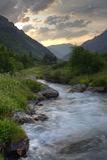 Заход солнца лета на северном Кавказе Стоковая Фотография RF