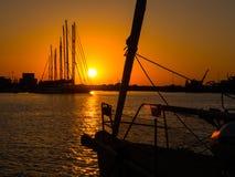 Заход солнца лета оранжевый в Трапани Стоковое Фото