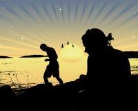 заход солнца лета силуэта Стоковое Изображение RF