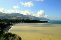 заход солнца лета Сицилии seascape scopello Стоковые Изображения