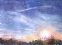 заход солнца лета Стоковые Изображения