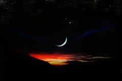 Заход солнца луны Стоковая Фотография