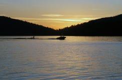 заход солнца лыжника Стоковая Фотография RF