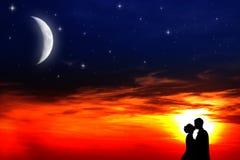 заход солнца любовников Стоковые Изображения RF