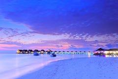 заход солнца Мальдивов острова Стоковая Фотография