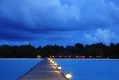 заход солнца Мальдивов Стоковые Изображения RF