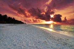 заход солнца Мальдивов Стоковая Фотография RF