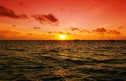 заход солнца Мальдивов Стоковое фото RF