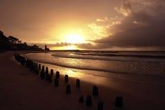 заход солнца маяка Стоковое Изображение RF