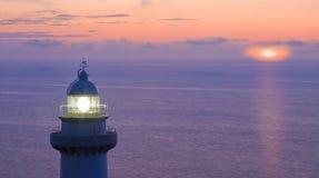 заход солнца маяка igueldo Стоковое фото RF