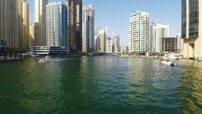 заход солнца места Марины Дубай городского пейзажа панорамный видеоматериал