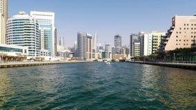 заход солнца места Марины Дубай городского пейзажа панорамный сток-видео