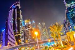 заход солнца места Марины Дубай городского пейзажа панорамный Стоковые Фото