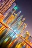 заход солнца места Марины Дубай городского пейзажа панорамный Стоковая Фотография RF