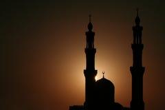 заход солнца мечети Стоковые Изображения