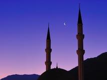 заход солнца мечети Стоковое Изображение RF