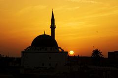 заход солнца мечети al jazzar Стоковые Изображения RF