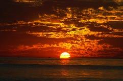 заход солнца Мичигана 2 озер Стоковая Фотография RF