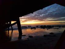 Заход солнца молы семафора Стоковые Изображения