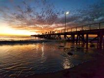 Заход солнца молы семафора Стоковое фото RF