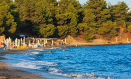 Заход солнца моря, Греция стоковое изображение