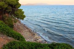 Заход солнца моря, Греция Стоковое Изображение RF
