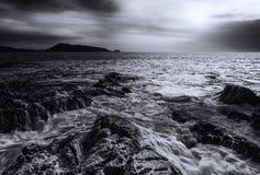 Заход солнца моря или восход солнца моря Стоковое Изображение RF