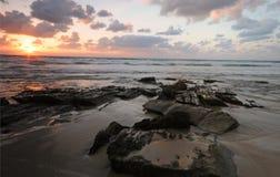 заход солнца моря ландшафта Стоковые Изображения