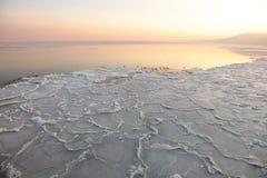 заход солнца моря Польши льда gdynia floe Стоковое Фото