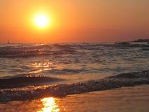 заход солнца моря gallipoli Стоковое фото RF