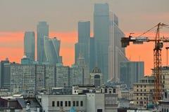 Заход солнца Москвы Стоковые Изображения