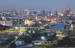 Заход солнца Москвы стоковое фото rf