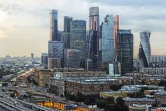 Заход солнца Москвы Стоковые Изображения RF