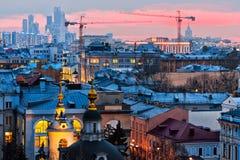 Заход солнца Москвы Стоковые Фотографии RF