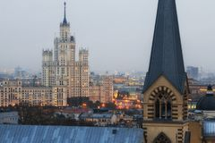 Заход солнца Москвы Стоковая Фотография RF