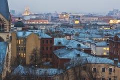 Заход солнца Москвы Стоковые Фото