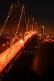 заход солнца моста залива Стоковое Изображение