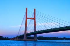 заход солнца моста Стоковые Изображения