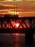заход солнца моста Стоковая Фотография