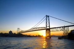 заход солнца моста Стоковые Изображения RF