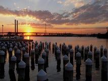 заход солнца моста bolte Стоковые Изображения