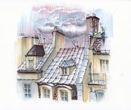 Заход солнца над авариями Парижа бесплатная иллюстрация
