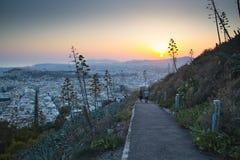 Заход солнца над Афинами в Греции Стоковая Фотография